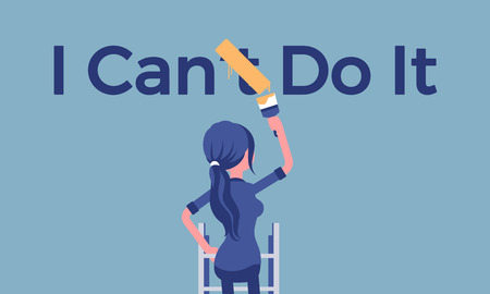I can do it motivational poster. Woman correcting negative grammatical construction into positive statement to express enthusiasm and will for doing something, desire and energy. Vector illustration