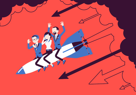 Business team in despair go down on rocket. Business startup, company new project end in failure, financial mistakes. Problem solving, risk management concept. Vector illustration, faceless characters