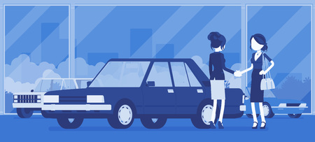 Female car dealership sells a new red vehicle to woman. Woman buying auto in automobile shop, making agreement with agency manager, officially agree to a deal. Vector illustration, faceless characters