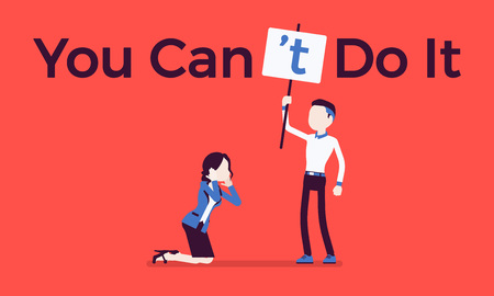 You can not do it poster. Man correcting positive grammatical construction into negative statement to suppress enthusiasm, boss in disbelief mistrust to woman. Vector illustration, faceless characters