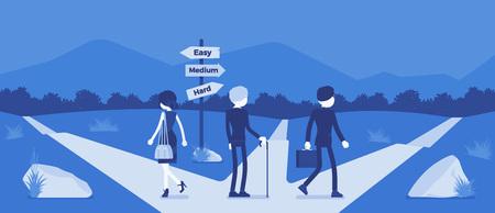 Les gens qui choisissent un chemin, un chemin, une direction de vie. Trois personnes choisissent des alternatives entre les indicateurs de route faciles, moyens, difficiles, la métaphore de la gestion et de l'orientation. Illustration vectorielle, personnages sans visage