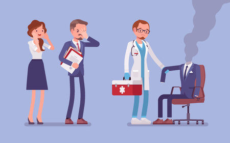 Burnout office worker and a doctor. Employee empty suit, metaphor of a man in exhaustion, lost his physical, emotional strength and motivation, stress and frustration at workplace. Vector illustration