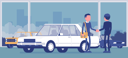 Dealer in car showroom displays vehicle for sale. Male automobile seller, customer makes an agreement in sales agency, man buying new auto, business in shop. Vector illustration, faceless characters