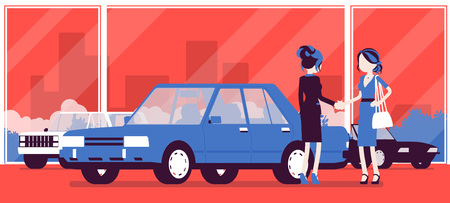 Female car dealership sells a new vehicle to woman. Woman buying auto in automobile shop, making agreement with agency manager, officially agree to a deal. Vector illustration, faceless characters Illustration