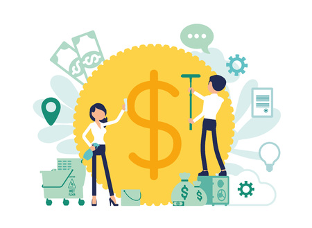 Money laundering criminal business activity. Man and woman concealing the origins of profit, washing giant coin with cleaning equipment to make it legitimate. Vector illustration, faceless characters Illustration