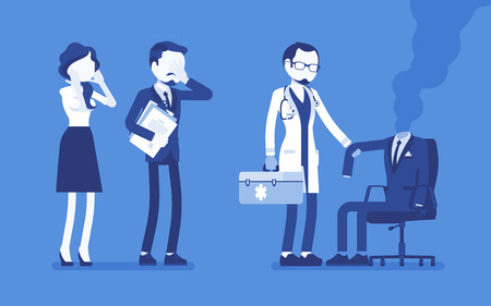 Burnout office worker and a doctor. Employee empty suit, man in exhaustion, lost physical, emotional strength, motivation, stress and frustration at workplace. Vector illustration, faceless characters