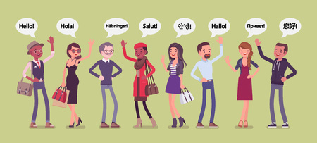 Hello greeting in languages and group of diverse people. Friendly men and women from different countries saying hi, giving a polite word of recognition and hand sign of welcome. Vector illustration Foto de archivo - 122039663