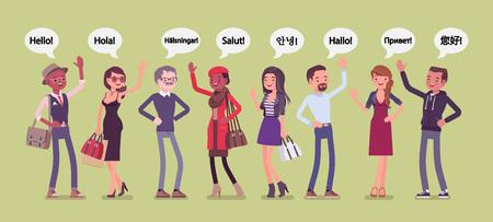 Hola saludo en idiomas y grupo de personas diversas. Hombres y mujeres amables de diferentes países saludando, dando una cortés palabra de reconocimiento y un gesto de bienvenida con la mano. Ilustración vectorial