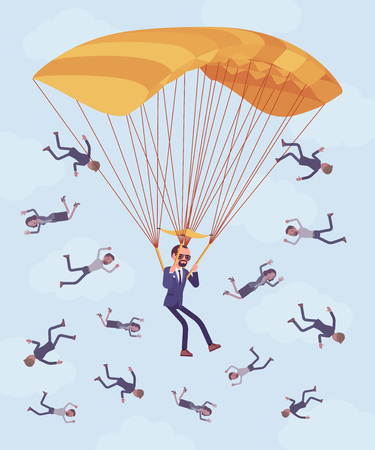 Golden parachute benefit for businessman. High level executive manager in dismissal receives large safe payment from company, employees falling down fired without protection, help. Vector illustration Ilustracja