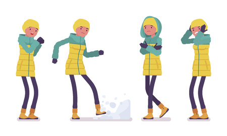 Young woman in bright down jacket, negative emotions, wearing soft warm winter clothes, classic snow boots, hat. Women outfit concept. Vector flat style cartoon illustration isolated, white background Ilustração