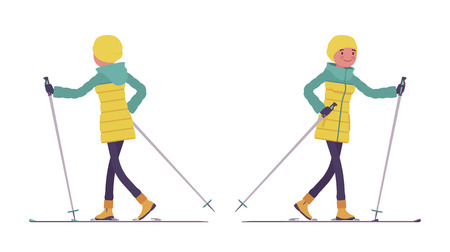 Young woman in bright down jacket enjoy travelling over snow on skis, sport leisure activity, skiing with fun wearing winter clothes. Vector flat style cartoon illustration isolated, white background