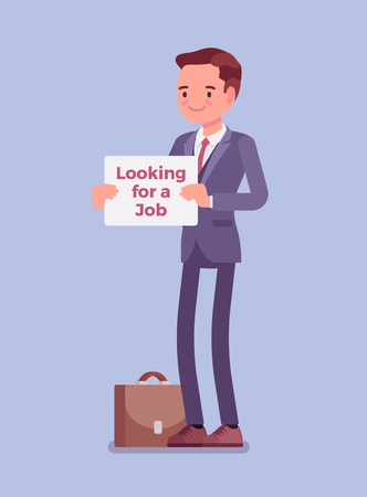 Man with looking for a job advertisement sign. Young applicant having no paid work, jobless person seeking employment, attempting to find good workplace, free unemployed candidate. Vector illustration