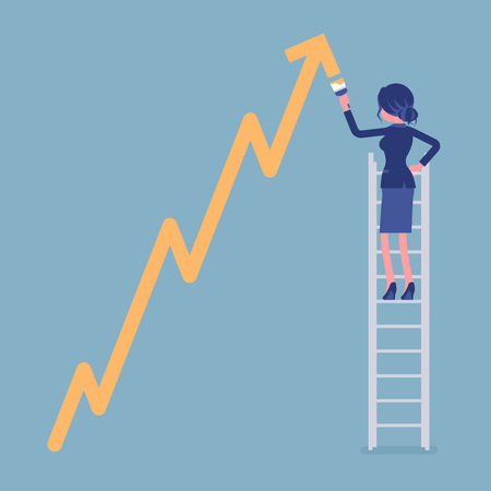 Businesswoman on ladder drawing positive dynamics climbing arrow. Successful manager showing sale progress, optimistic right direction, business profit growth. Vector illustration, faceless characters Standard-Bild - 122039711