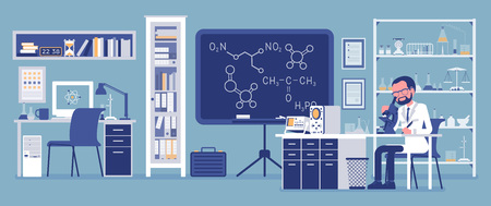 Male scientist working in laboratory. Man in white coat, scientific investigator doing research in physical, natural sciences. Education and science concept. Vector illustration, faceless characters Illustration