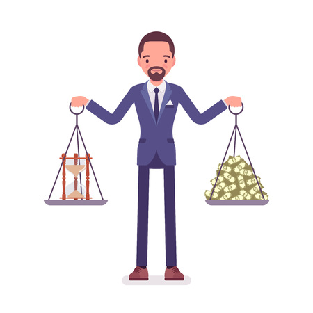 Time and money good balance for businessman. Happy man able to find harmony, pleasant agreement of profit, life accord, holding weights in both hands, choosing right lifestyle. Vector illustration