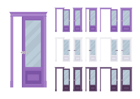 Doors classic set, wooden with glass, entrance to a building, room. Home, office design concept. Vector flat style cartoon illustration isolated on white background, different views, open and closed