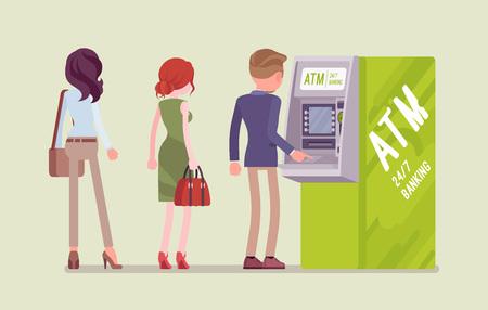 Personnes debout dans la ligne ATM. File d'attente près du guichet automatique, en attente de services bancaires, d'un point de vente électronique, les clients effectuent des transactions de base à l'aide d'un gadget contemporain. Illustration vectorielle