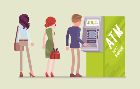 People standing in ATM line. Queue near automated teller machine, waiting for banking services, electronic outlet, customers complete basic transactions using contemporary gadget. Vector illustration