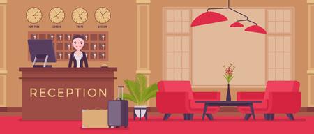 Recepcionista del hotel en el vestíbulo de la recepción. Mujer joven atractiva en área de recepción, saluda y trata con clientes, visitantes de la ciudad, interior y servicio para viajeros y turistas. Ilustración vectorial