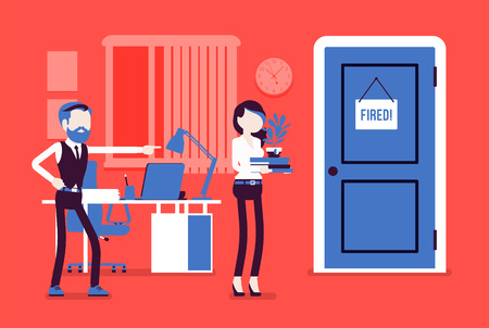 Fired woman and angry male boss. Manager removing girl, showing incompetent worker the door, dismisses female employee from job, lady leaving office workplace. Vector illustration, faceless characters