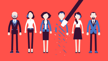 Person rubbed out and removed with eraser. Man obliterated from group of people, moved from business team, blocked in friends chat service, forbidden contacts. Vector illustration, faceless characters