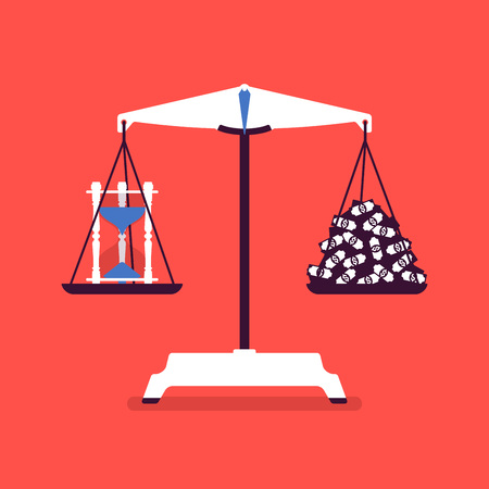 Time and money scales tool good balance. Metaphor of harmony, pleasant agreement of profit and life accord, equal weight of importance, motivation of choosing right lifestyle. Vector illustration Illustration