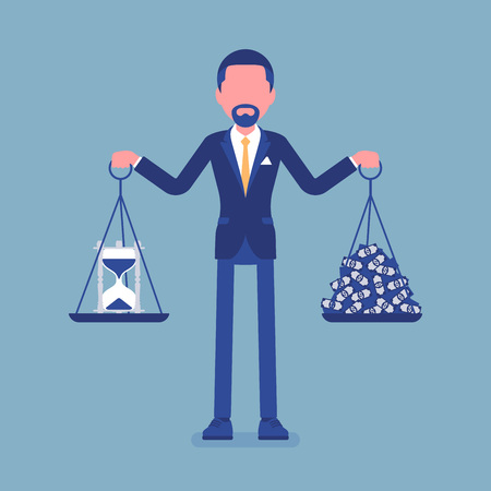 Time, money good balance for businessman. Man able to find harmony, pleasant agreement of profit, life accord, holding weights in both hands, right lifestyle. Vector illustration, faceless characters