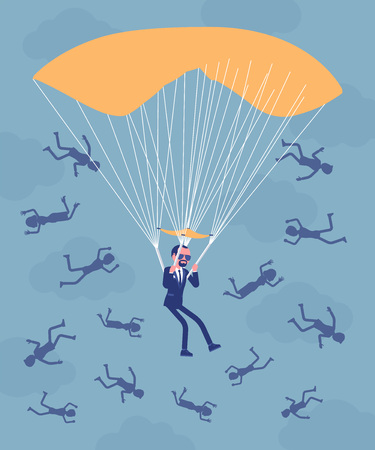 Golden parachute benefit for businessman. High level executive manager in dismissal receives large safe payment from company, employees falling down fired. Vector illustration, faceless characters