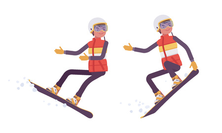 Sporty man snowboarding, enjoys winter outdoor activities on ski resort. Guy having active holiday, wintertime tourism and recreation. Vector flat style cartoon illustration isolated, white background