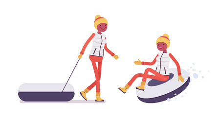 Sporty woman tubing, enjoys winter outdoor activities on ski resort. Girl having fun, active holiday, wintertime tourism, recreation. Vector flat style cartoon illustration isolated, white background