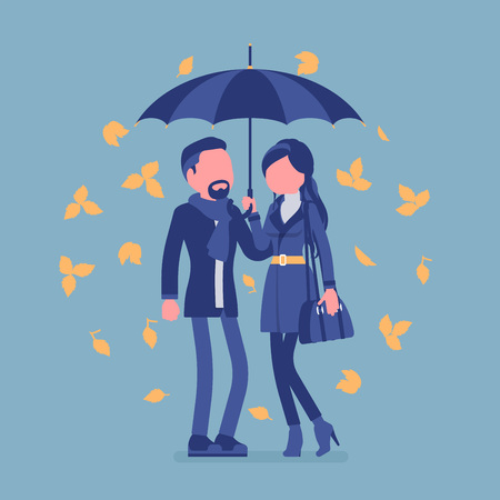Couple with umbrella in autumn. Man, woman in love standing protected together under rain of fall yellow leaves, feeling safe, secure, romantic relationship. Vector illustration, faceless characters