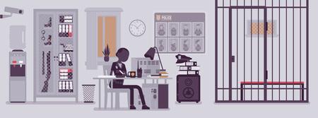 Bureau de poste de police et policière travaillant. Officier féminin assis sur le lieu de travail dans le département de la ville, intérieur de la chambre avec des outils professionnels, affiche recherchée. Illustration vectorielle avec des personnages sans visage