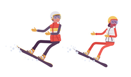 Sporty man and woman snowboarding, enjoy winter outdoor activities on ski resort, active holiday, wintertime tourism and recreation. Vector flat style cartoon illustration isolated on white background Stock Vector - 122039825