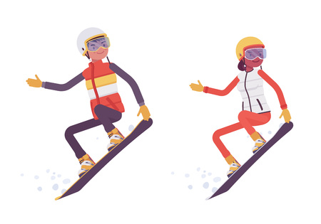 Sporty man and woman snowboarding, enjoy winter outdoor activities on ski resort, active holiday, wintertime tourism and recreation. Vector flat style cartoon illustration isolated on white background