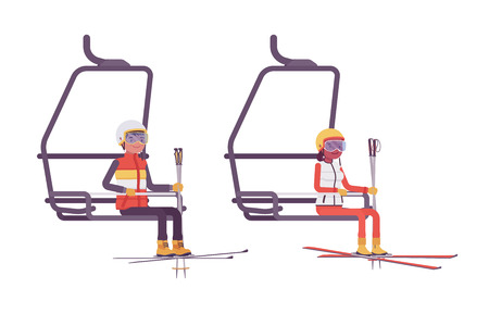 Sporty young man and woman at ski lift, enjoy winter outdoor activities on resort, having active holiday fun, wintertime recreation. Vector flat style cartoon illustration isolated, white background