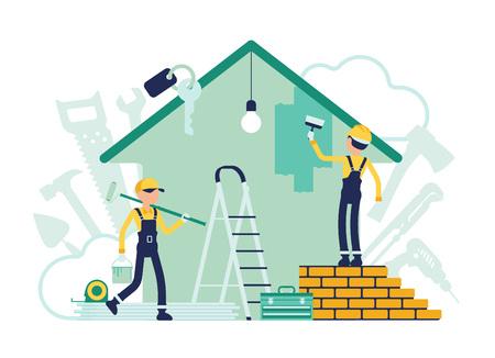 Bauherren, die Reparaturen der Wohnung durchführen, Arbeiter, die damit beschäftigt sind, Hauswände zu malen. Männer von professionellen Dienstleistungen, die das Häuschen dekorieren, stellen das Haus in einen guten Zustand. Abstrakte Vektorgrafik, gesichtslose Charaktere