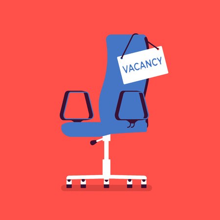 Vacancy chair sign in for job applicants. Empty place for candidates, vacant post announcement, hiring at unoccupied company position, free workplace and recruitment agency symbol. Vector illustration