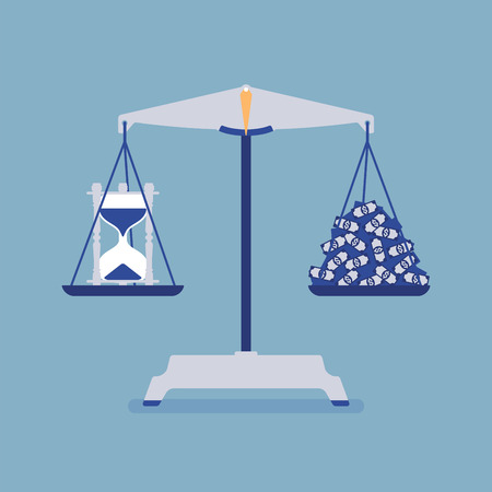 Time and money scales tool good balance. Metaphor of harmony, pleasant agreement of profit and life accord, equal weight of importance, motivation of choosing right lifestyle. Vector illustration Çizim