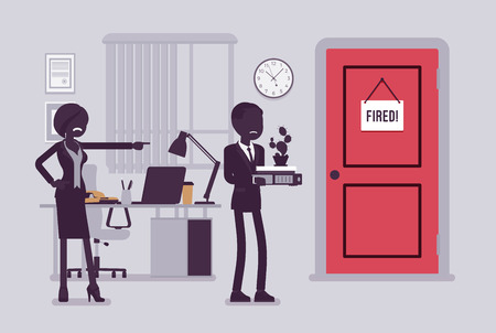 Fired man and angry female boss. Manager removing boy, showing incompetent worker the door, dismisses male employee from job, guy leaving office workplace. Vector illustration, faceless characters Vetores