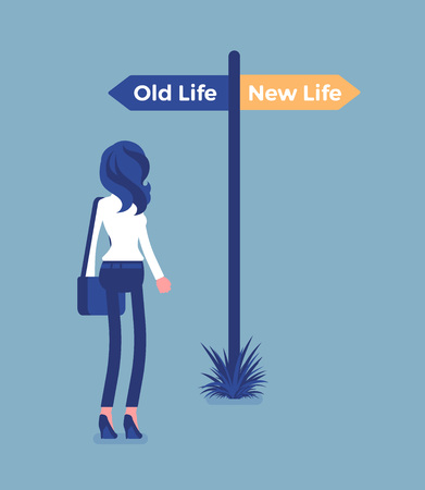 Signpost pole to direct a woman, old and new life choice. Young person choosing a road, start of another way, thinking of decision to begin and change lifestyle, become different. Vector illustration