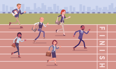 Businessmen running at business competition. Rivalry race between companies or managers, office workers in motivational contest, employees establishing professional superiority. Vector illustration Stock fotó - 118668154