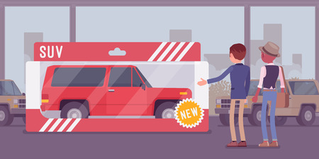 Expensive toy for a man. Male person gifted with a wrapped car for entertainment, real vehicle in a present box from auto showroom, automobile amusement for fun to play and drive. Vector illustration  イラスト・ベクター素材