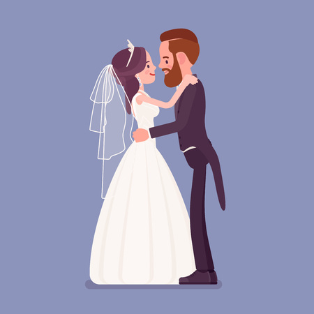 Bride and groom in gentle hug on wedding ceremony. Elegant tuxedo man, woman in beautiful dress on traditional celebration, married couple in love. Marriage customs and traditions. Vector illustration