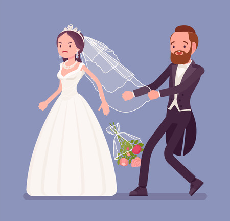 Angry bride leaving groom on wedding ceremony. Unhappy woman in a white dress going away from future husband, changing her mind, refusing to marry, break traditional celebration. Vector illustration Ilustração