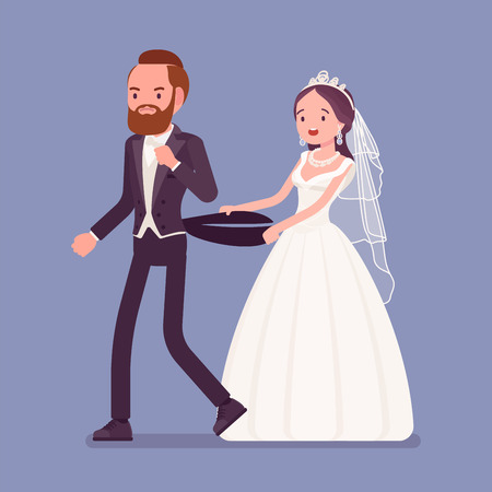 Angry groom leaving bride on wedding ceremony. Unhappy man going away from future wife, changing his mind, refusing to marry her on traditional celebration, break off engagement. Vector illustration