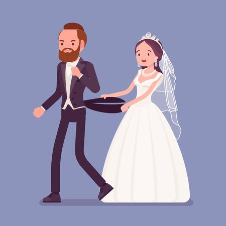 Sposo arrabbiato che lascia la sposa durante la cerimonia di nozze. Uomo infelice che si allontana dalla futura moglie, cambiando idea, rifiutandosi di sposarla durante la celebrazione tradizionale, interrompe il fidanzamento. Illustrazione vettoriale