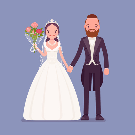 Happy bride, groom holding hands on wedding ceremony. Elegant tuxedo man, woman in beautiful dress on traditional celebration, married couple in love. Marriage customs, traditions. Vector illustration