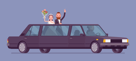 Bride and groom in limousine on wedding ceremony. Elegant tuxedo man, woman in beautiful dress on traditional celebration, married couple in love. Marriage customs and traditions. Vector illustration Çizim