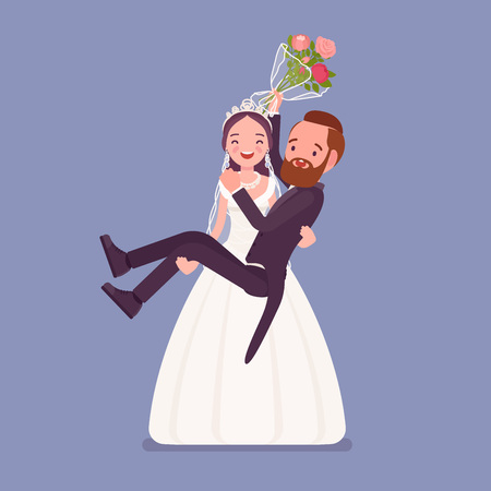 Bride carrying groom on wedding ceremony. Elegant tuxedo man, woman in a beautiful white dress on traditional celebration, married couple in love. Marriage customs and traditions. Vector illustration