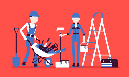 Construction workers with professional equipment. Male, female laborers in uniform employed to build, repair, engaged in manual work, physical labour industry. Vector illustration, faceless characters